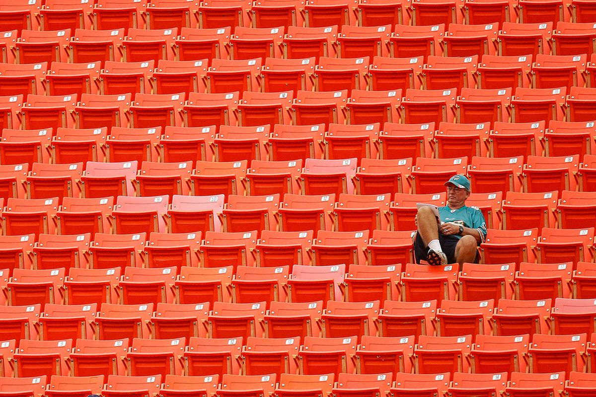 MIAMI GARDENS, FL - AUGUST 19:  A Miami Dolphins fan during an NFL preseason game against the Carolina Panthers at Sun Life Stadium on August 19, 2011 in Miami Gardens, Florida.  (Photo by Mike Ehrmann/Getty Images)