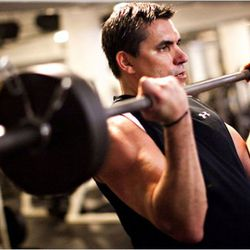 """Todd English pumping iron. (Photo: <a href=""""http://www.nytimes.com/2011/06/01/dining/todd-english-the-chef-in-motion.html?ref=dining&pagewanted=all"""" rel=""""nofollow"""">Piotr Redinski/New York Times</a>)"""