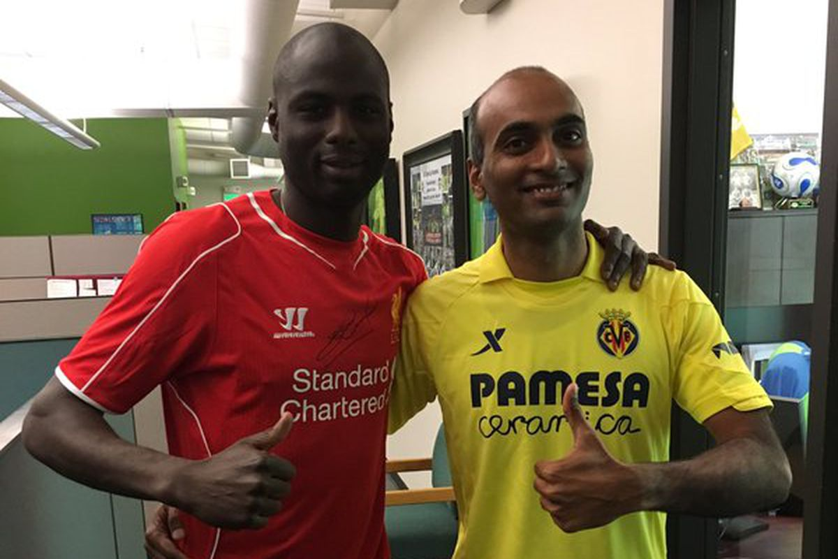 Ex-Liverpool man Djimi Traore (now a Sounders assistant coach) and our own Ravi, ready to go in Seattle.