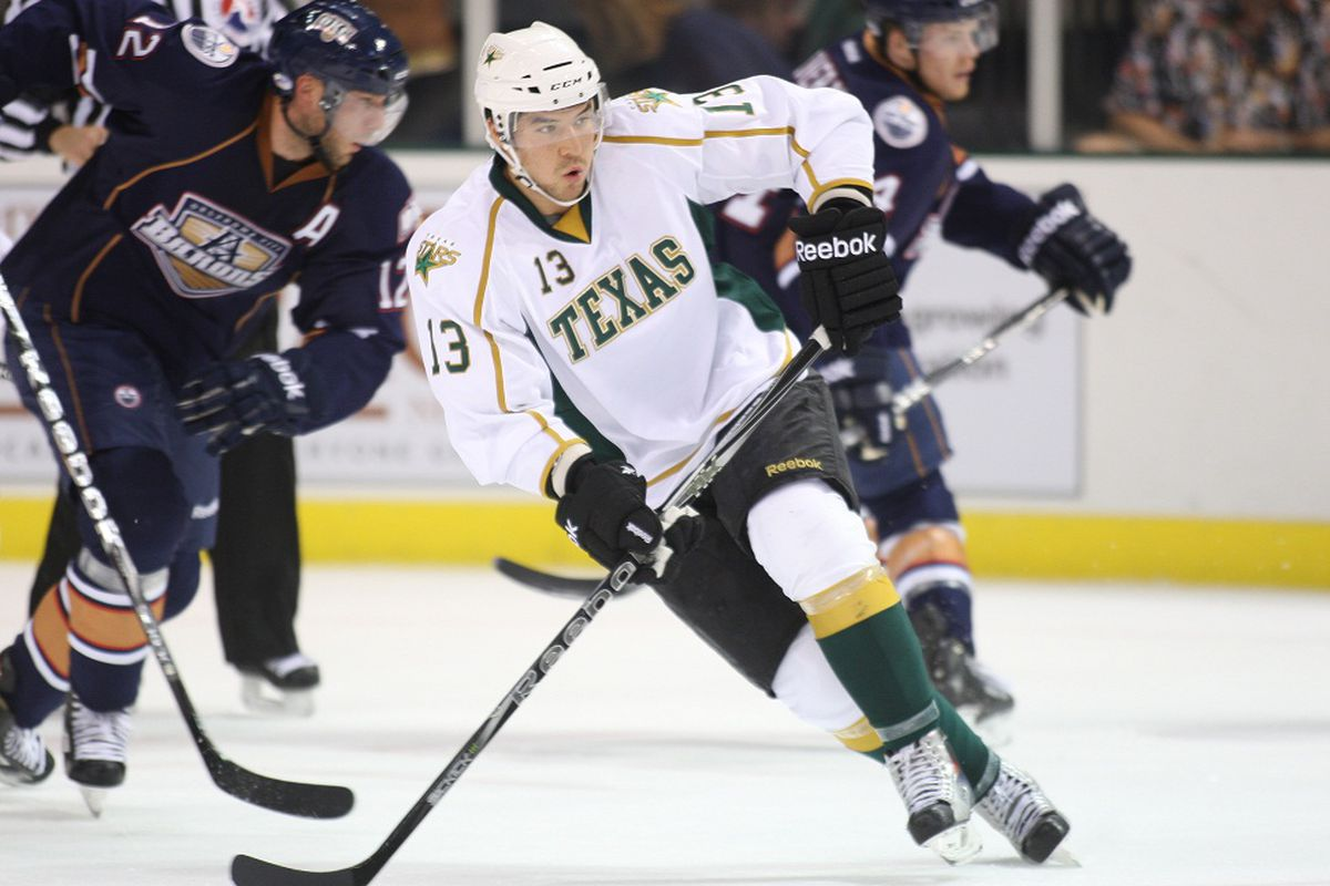 Ray Sawada, skating here against the Barons, had a goal and an assist this weekend. (Credit: Texas Stars)