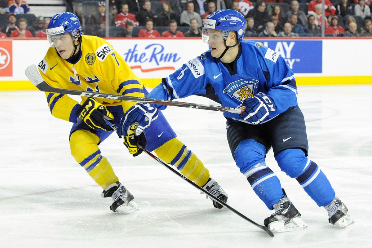 Both Scandinavian, in another life these two might have become fast friends. Instead, hockey brands them opponents. What a fickle existence. Where, I ask you, is the love?