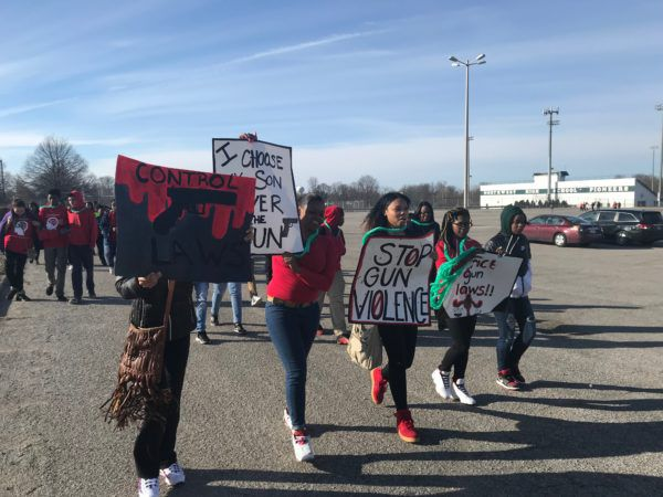 Students at Northwest High School joined the National School Walkout on Wednesday, March 14, 2018.