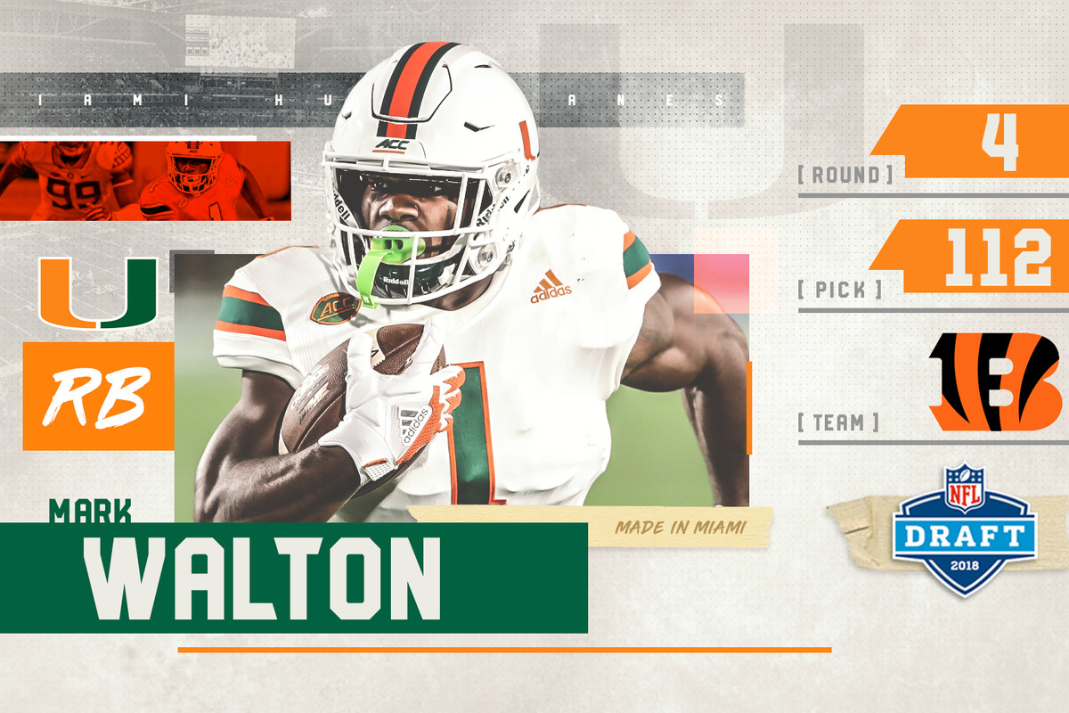 2018 Nfl Draft Miami Hurricanes Rb Mark Walton Drafted By