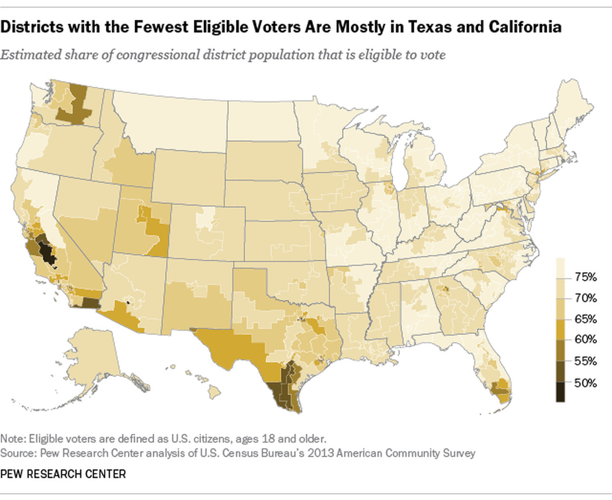 a map of the us by congressional districts showing where eligible voters make up the