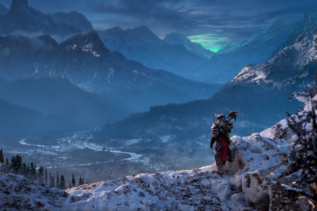A player character in The Elder Scrolls Online stands on a mountaintop looking out into the opening valley from The Elder Scrolls 5, upscaled with CGI. From the teaser trailer for The Elder Scrolls Online expansion, The Dark Heart of Skyrim.