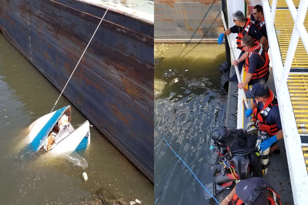 Police recover a boat from the Sanitary and Shipping Canal