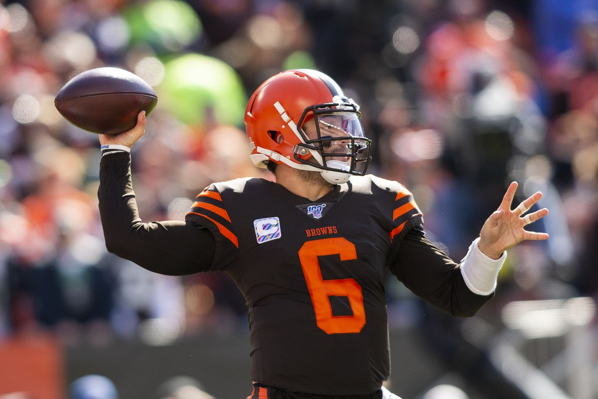 Cleveland Browns quarterback Baker Mayfield throws the ball against the Seattle Seahawks during the first quarter at FirstEnergy Stadium.