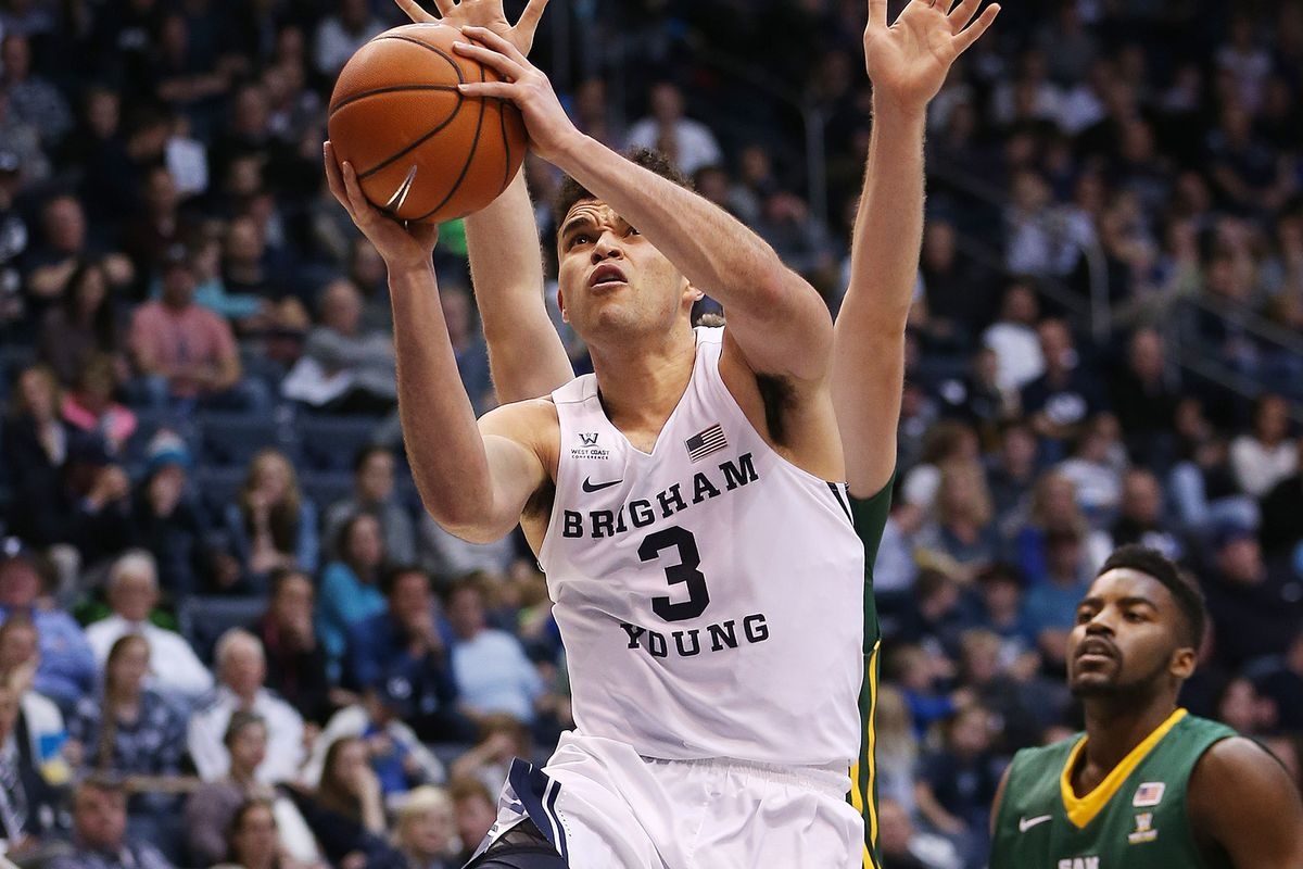 Brigham Young Cougars guard Elijah Bryant (3) drives on the San Francisco Dons in Provo on Thursday, Jan. 12, 2017. BYU won 85-75.
