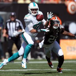 Sep 8, 2013; Cleveland, OH, USA; Miami Dolphins wide receiver Brian Hartline (82) makes a reception against Cleveland Browns cornerback Buster Skrine (22) during the second quarter at FirstEnergy Field.