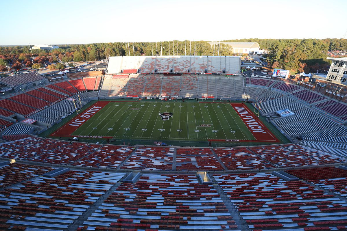 A general view of Carter-Finley Stadium prior to the game between the North Carolina State Wolfpack and Clemson Tigers on November 09, 2019 in Raleigh, North Carolina.