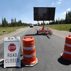 State route 143 remains closed as the Brian Head Fire continues to burn on Friday, June 30, 2017. The evacuation order for Brian Head and Dry Lakes was lifted Friday, 13 days after residents were forced from their homes by the raging fire.