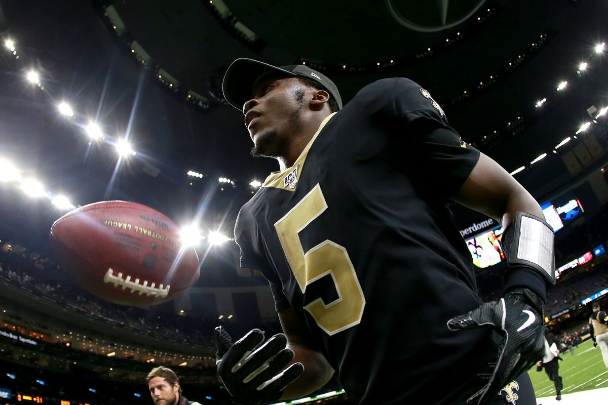 Teddy Bridgewater of the New Orleans Saints runs off the field after defeating the Tampa Bay Buccaners during a NFL game at the Mercedes Benz Superdome on October 06, 2019 in New Orleans, Louisiana.