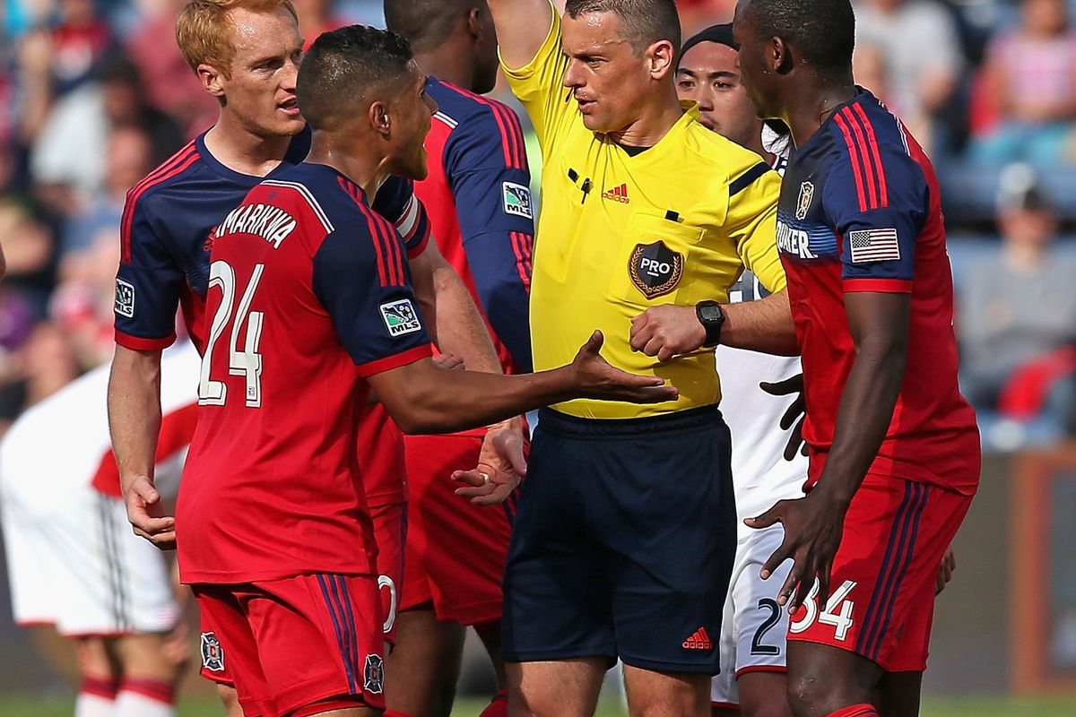 We'll miss you today, Quincy. You know you're playing well when every teammate in the area immediately charges toward the ref to disagree with your yellow card.