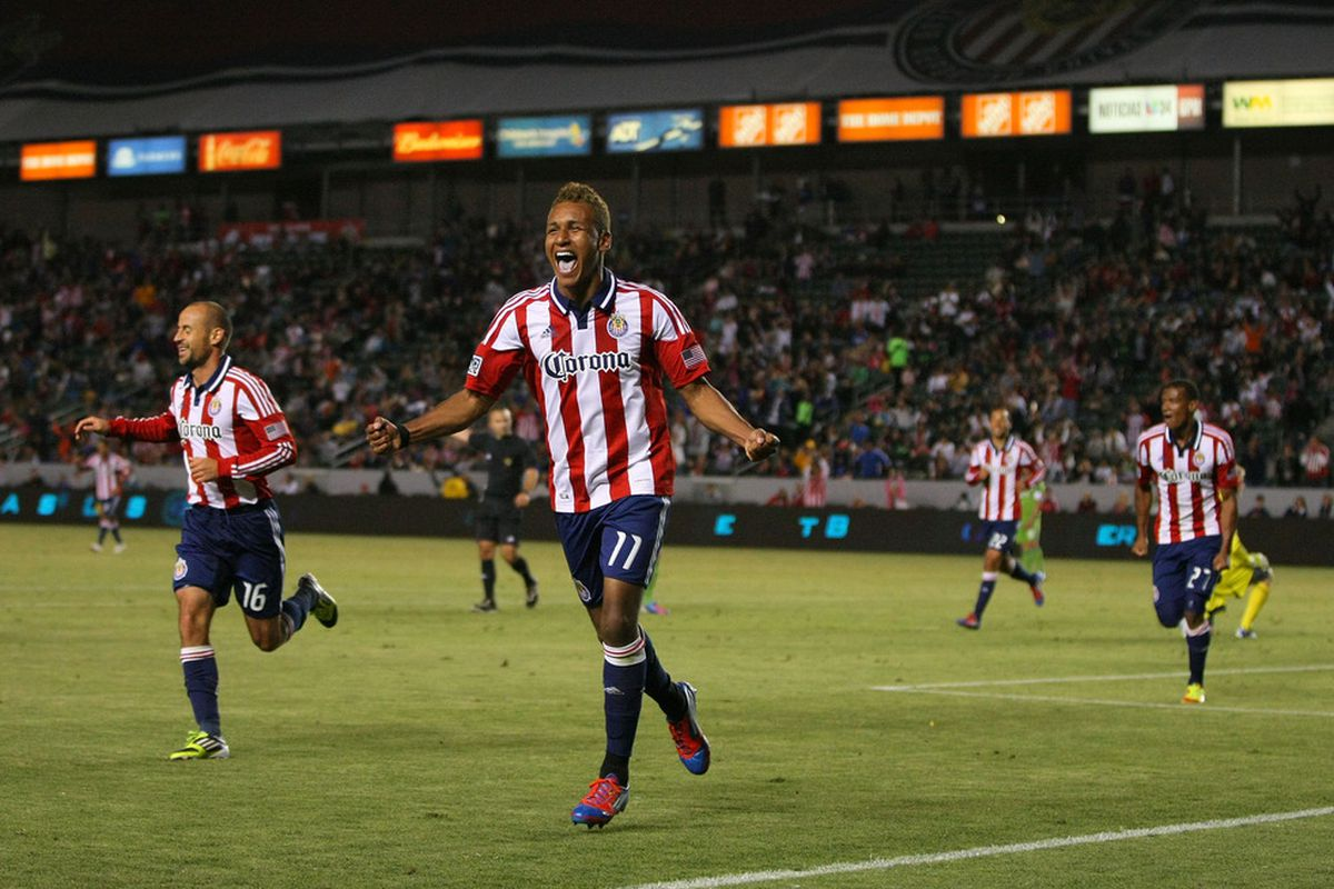 CARSON, CA - MAY 26:  Agudelo does his part for Chivas (Photo by Victor Decolongon/Getty Images)
