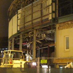 5:50 p.m. Work still in progress, demolishing part of the area underneath the marquee -