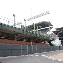 12:26 p.m. Left-field bleachers and plaza building, from Waveland & Kenmore -