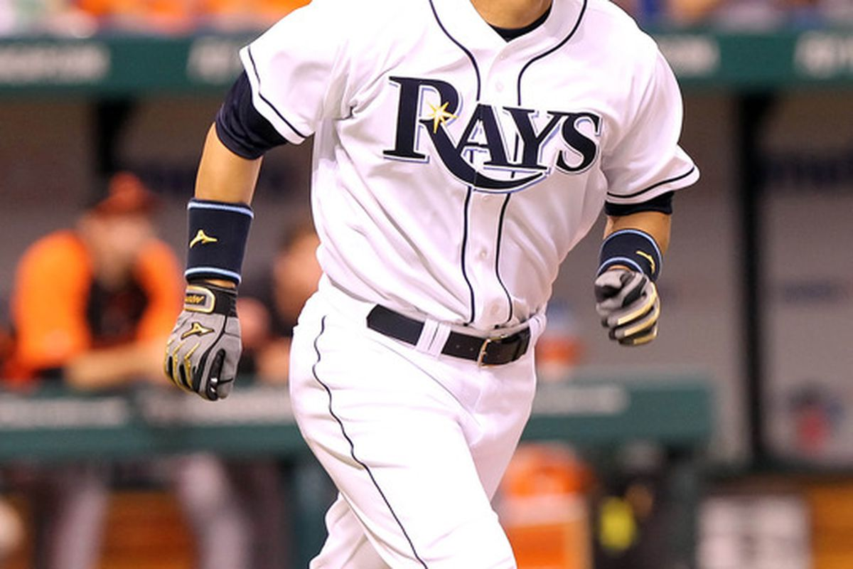 June 1, 2012; St. Petersburg, FL, USA; Tampa Bay Rays left fielder Hideki Matsui (35) looks up after he hit a 2-run home run in the first inning against the Baltimore Orioles at Tropicana Field. Mandatory Credit: Kim Klement-US PRESSWIRE