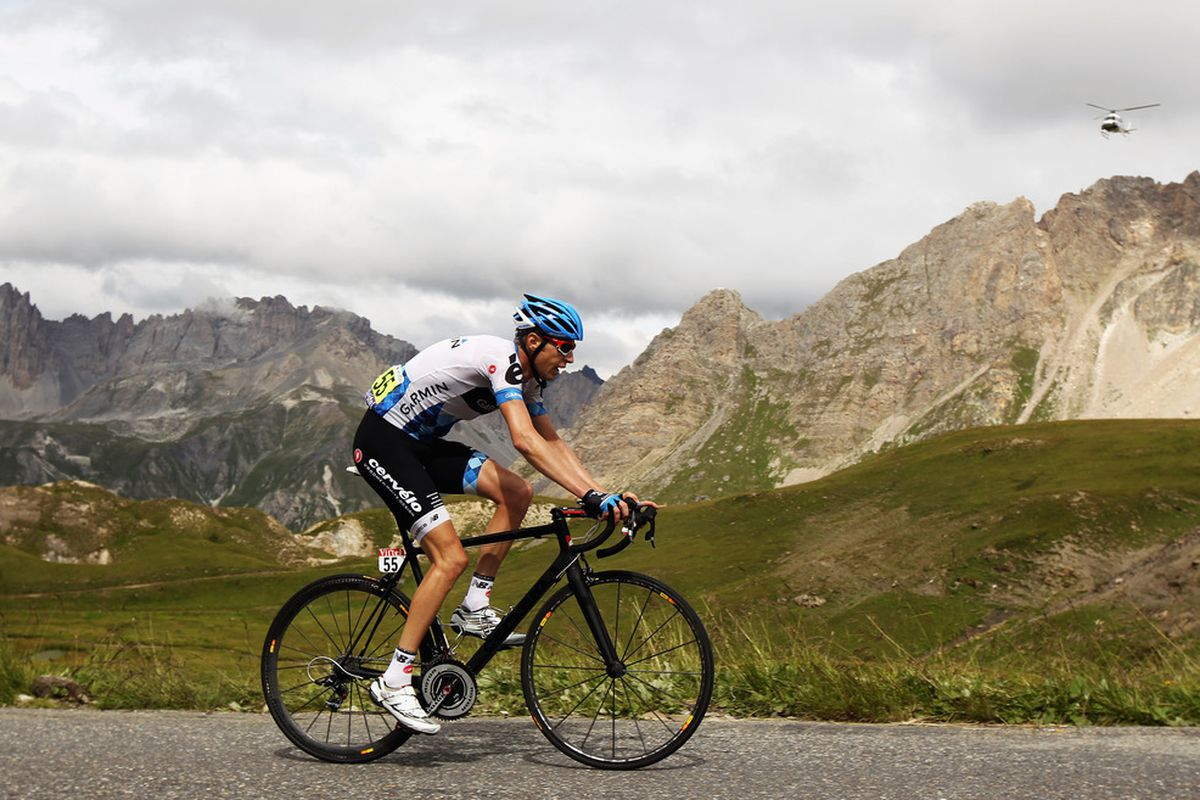 Ryder Hesjedal of Canada and Team Garmin-Cervelo rides up the Col du Galibier during stage nineteen of the Tour de France from Modane Valfrejus to Alpe-d'Huez on the Col du Galibier, France.  (Photo by Bryn Lennon/Getty Images)