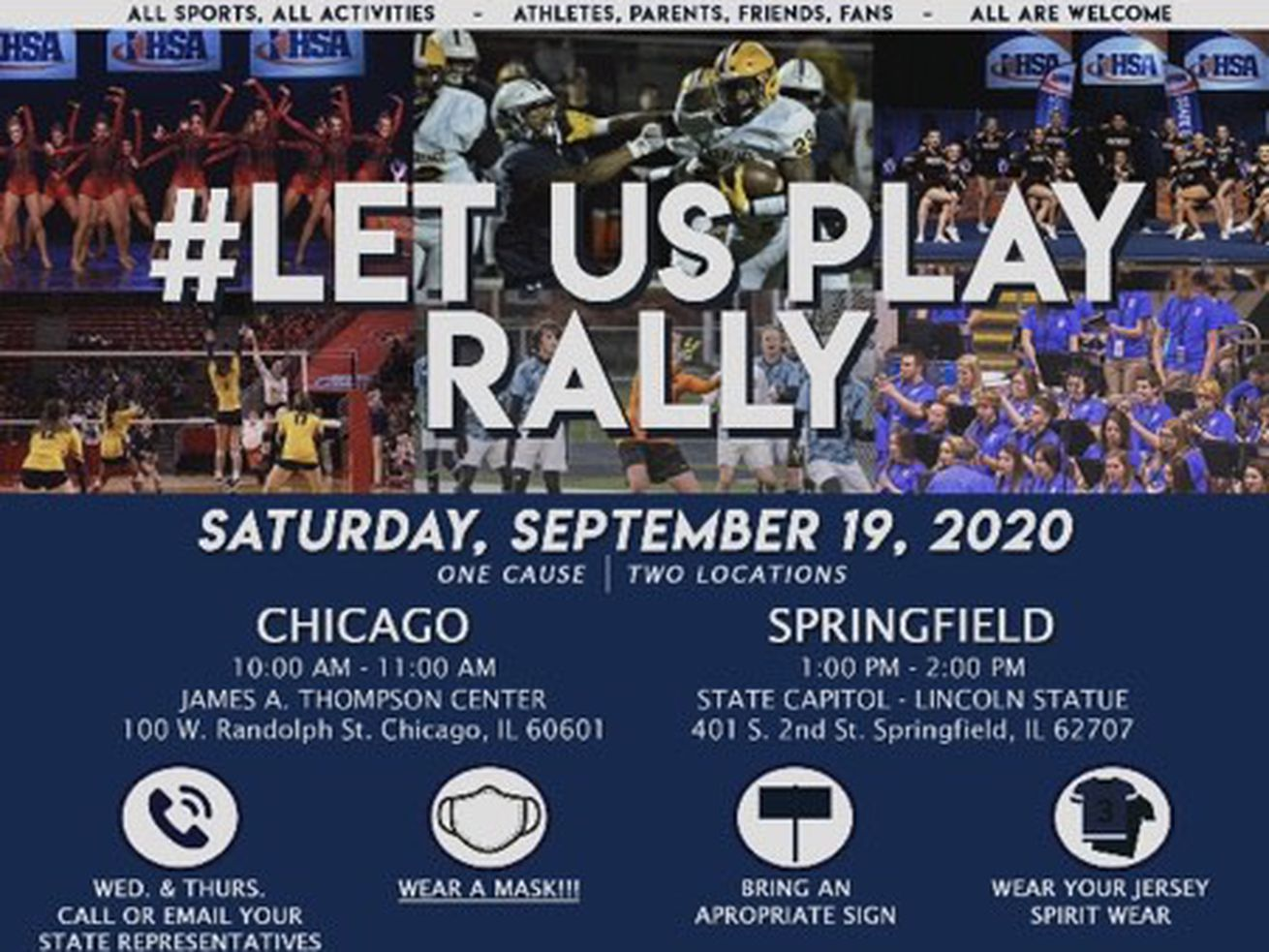 The flyer for the Let Us Play rally this weekend.