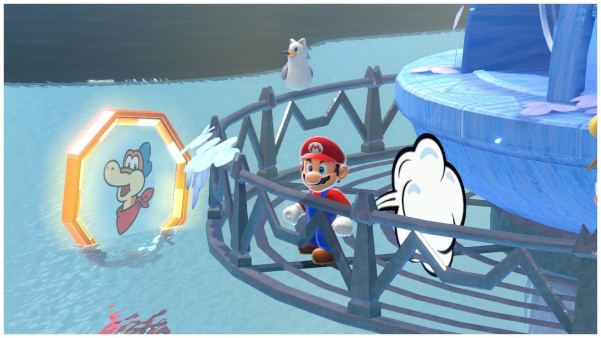 Mario farts on a lighthouse in Bowser's Fury on the Nintendo Switch.