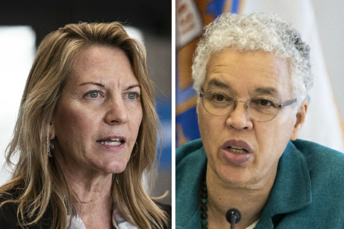 Cook County Public Defender Amy Campanelli, left, last March; Cook County Board President Toni Preckwinkle, right, in December.