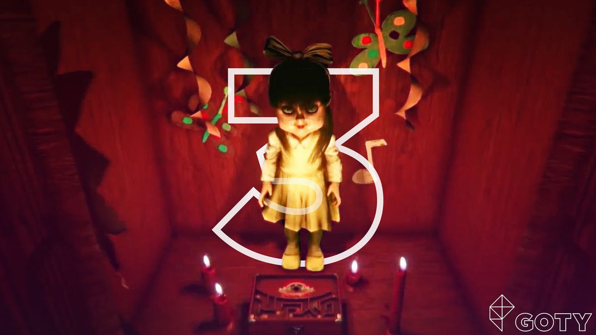 very creepy doll stands surrounded by four candles