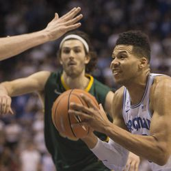 Brigham Young Cougars forward Yoeli Childs (23) goes to the basket during BYU's 75-73 overtime win against the San Francisco Dons at the Marriott Center in Provo on Saturday, Feb. 10, 2018.