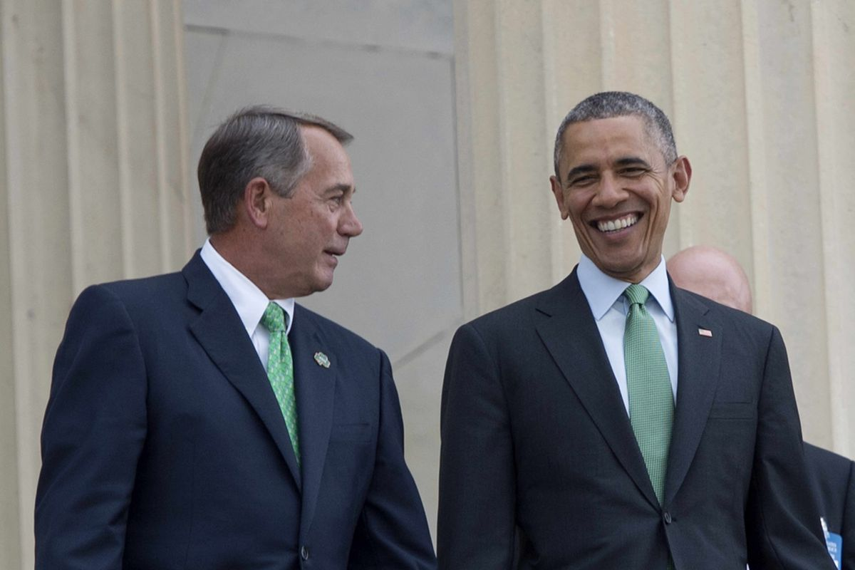 Obama and Boehner after the Friends of Ireland luncheon in March 2015.