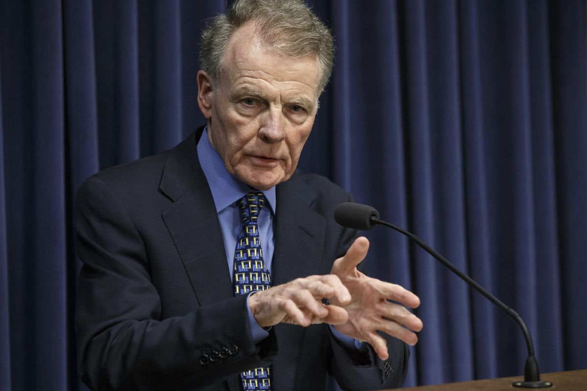 FILE - In this July 26, 2017 file photo, Illinois Speaker of the House Michael Madigan, D-Chicago, speaks at a news conference at the state Capitol, Wednesday, July 26, 2017, in Springfield, Ill. A published report citing a federal court affidavit says the FBI secretly recorded Illinois' powerful House speaker in 2014 discussing a hotel development project. (Justin Fowler/The State Journal-Register via AP, File) ORG XMIT: ILSPR501