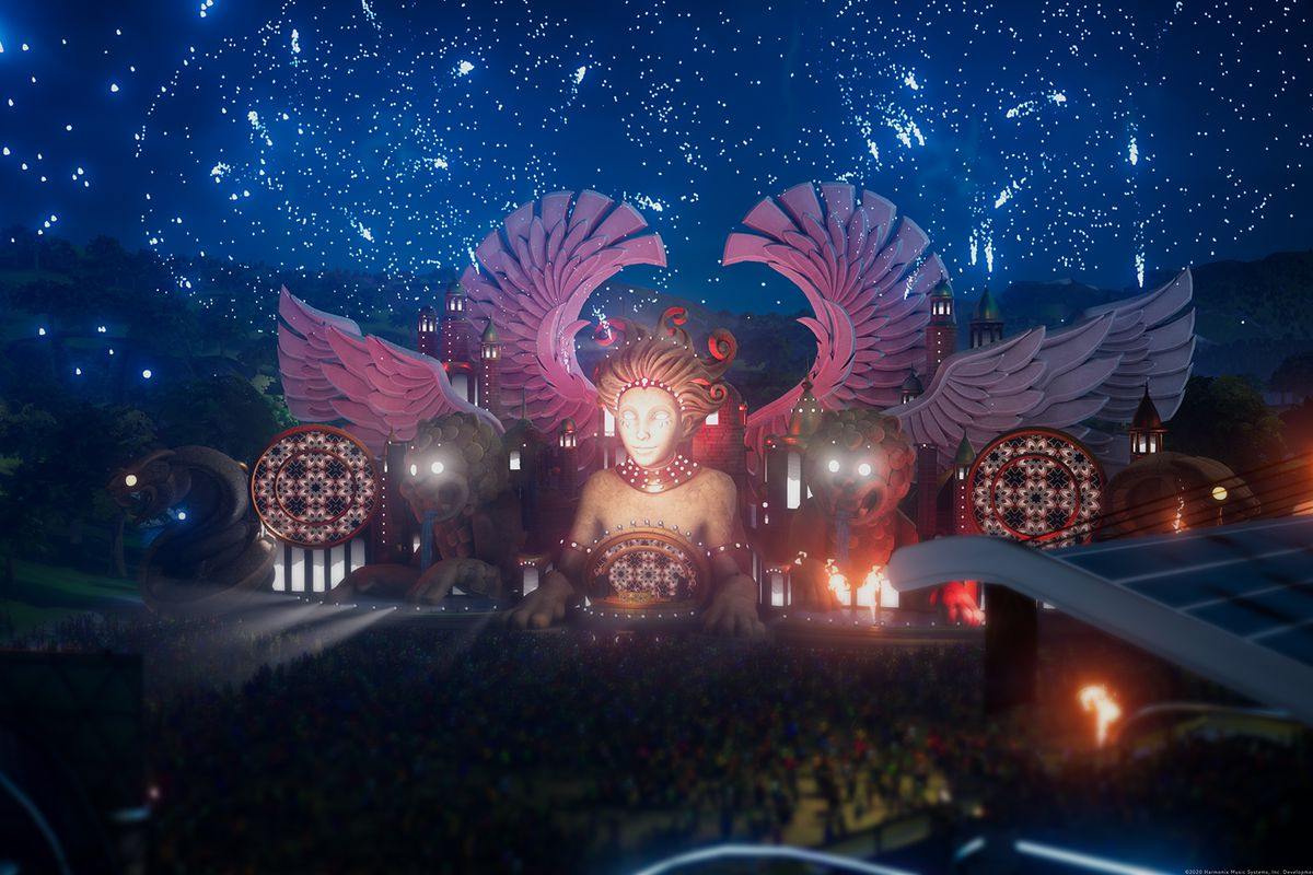 A music festival stage with a huge winged statue in Fuser