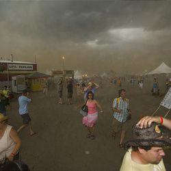 A devastating thunderstorm rolls into the site of the Big Valley Jamboree in Camrose, Alberta Canada Saturday.