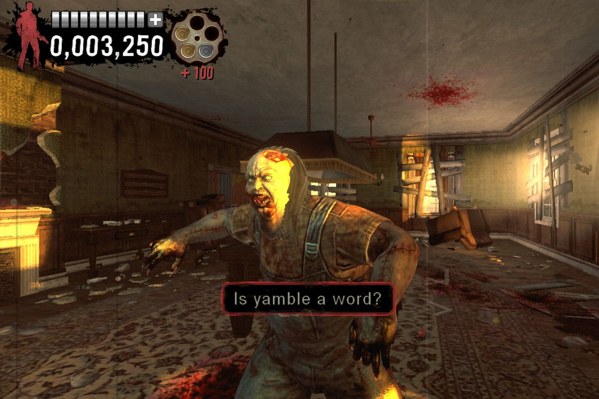 """A zombie approaches with the phrase """"Is yamble a word?"""" in a screenshot from The Typing of the Dead: Overkill."""