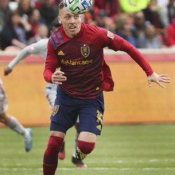 Real Salt Lake forward Corey Baird (10) tracks down the ball against the New York Red Bulls in Sandy on Saturday, March 7, 2020.