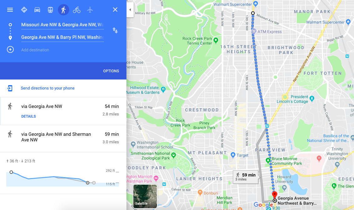 A Google Map depicting the route for the October 5 open streets event on Georgia Avenue NW, including an estimate of the walk time for the whole route: just under an hour.