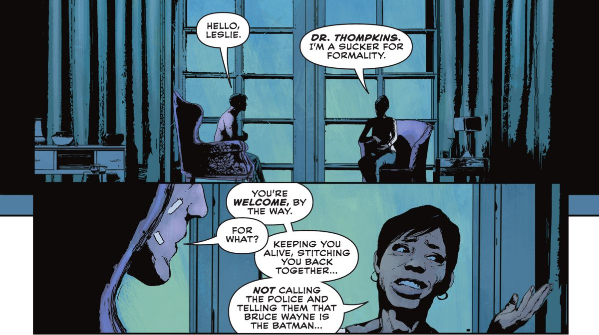 """""""You're welcome, by the way,"""" Leslie Thompkins says to Bruce Wayne, sitting in armchairs, for """"Keeping you alive, stitching you back together... not calling the police and telling them that Bruce Wayne is the Batman..."""" in Batman: Imposter #1 (2021)."""