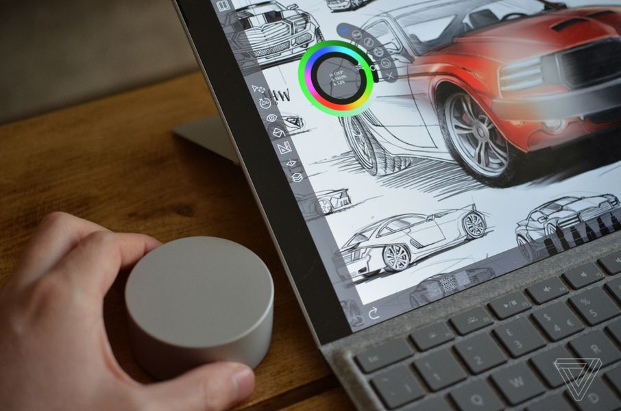 Microsoft Surface Pro 3 Keyboard >> A closer look at Microsoft's crazy Surface Dial puck - The Verge