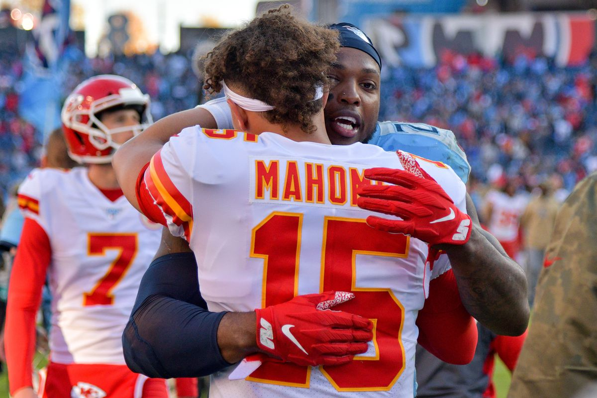 Tennessee Titans running back Derrick Henry greets Kansas City Chiefs quarterback Patrick Mahomes after their game at Nissan Stadium.