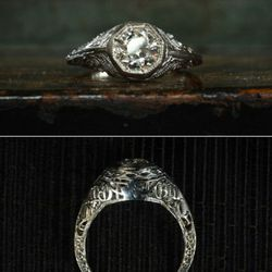 1920s 0.60ct European cut diamond, 18K white gold filigree. Beautiful detail and texture here without becoming an overly complicated form. $2250.