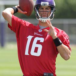 Jul 26, 2013; Mankato, MN, USA; Minnesota Vikings quarterback Matt Cassel (16) throws during training camp at Minnesota State University. Mandatory Credit: Brace Hemmelgarn-USA TODAY Sports