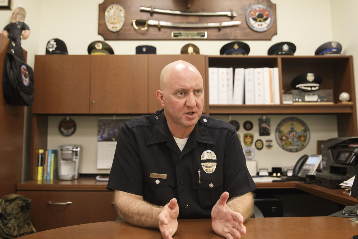 LAPD Commander Sean W. Malinowski, Ph.D speaks during an interview about the use of predictive policing zone maps at the Los Angeles Police Department Headquarters on Monday, October 24, 2016