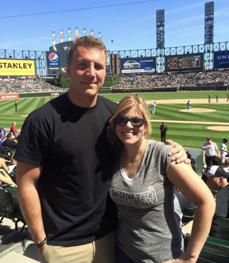 """Maj. Thomas Schueman with his mother Grace Picard at Sox park. """"Let's do the right thing and bring this guy and his children and his wife out of there,"""" Picard says of the brave Afghan interpreter Schueman has been trying to help get out of Afghanistan and away from the Taliban."""