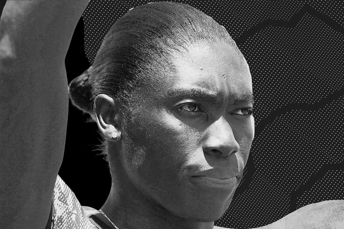Close-in black and white of Caster Semenya's face wearing a stern, determined expression.