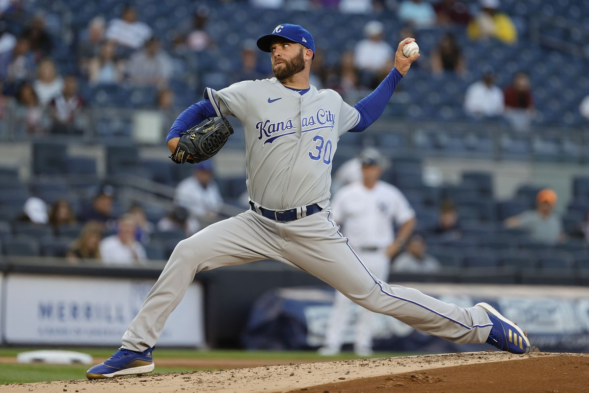 Danny Duffy #30 of the Kansas City Royals pitches during the second inning against the New York Yankees at Yankee Stadium on June 23, 2021 in the Bronx borough of New York City.