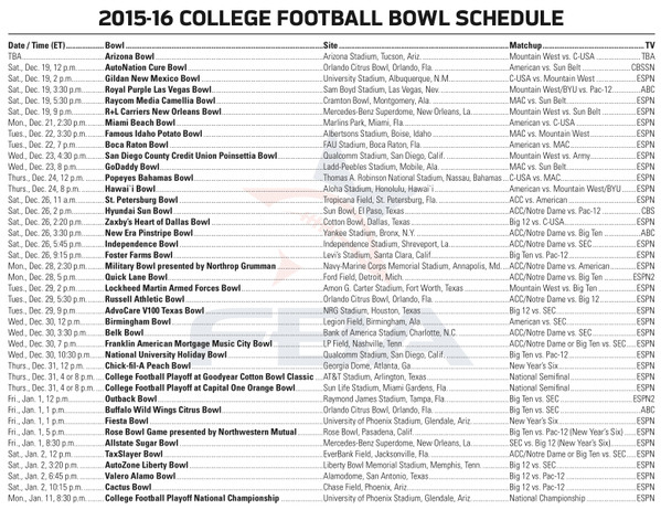 bowl schedule