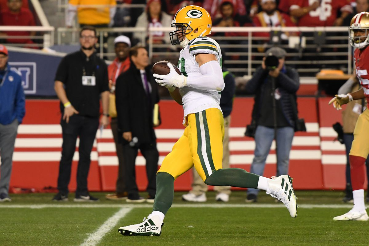 Jimmy Graham of the Green Bay Packers runs after a catch against the San Francisco 49ers during the NFC Championship game at Levi's Stadium on January 19, 2020 in Santa Clara, California.