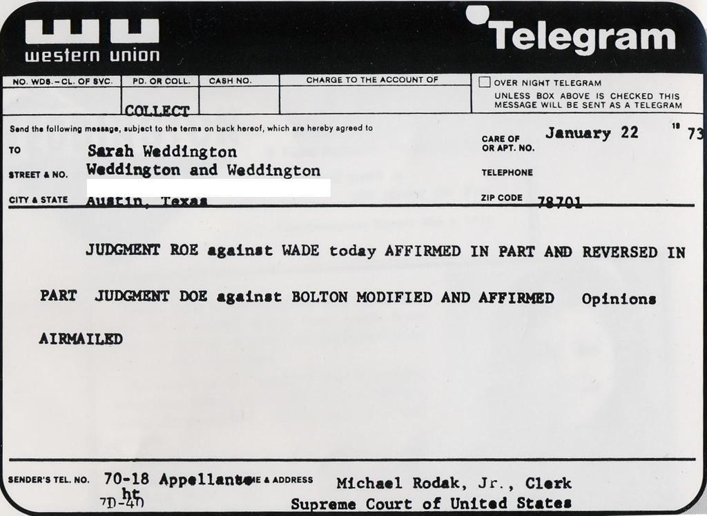 Roe v Wade telegram