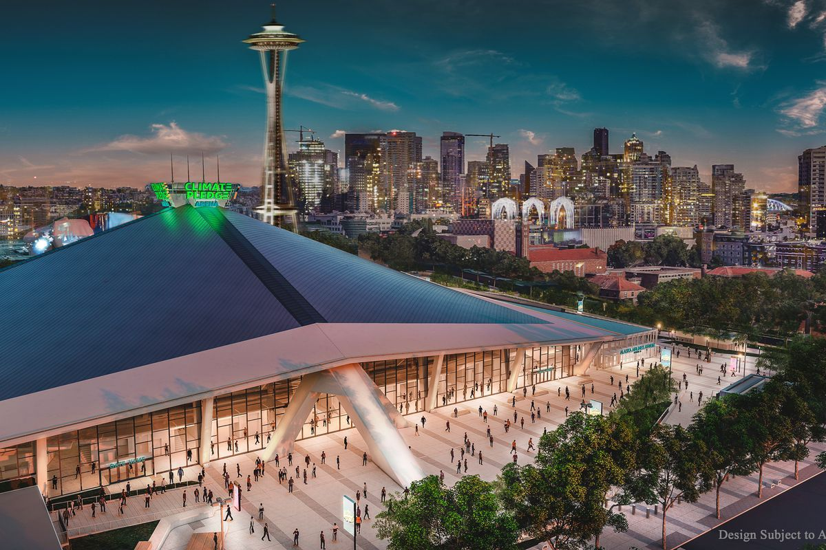 A computer rending of Climate Pledge Arena, with a green sign and the Space Needle in the background