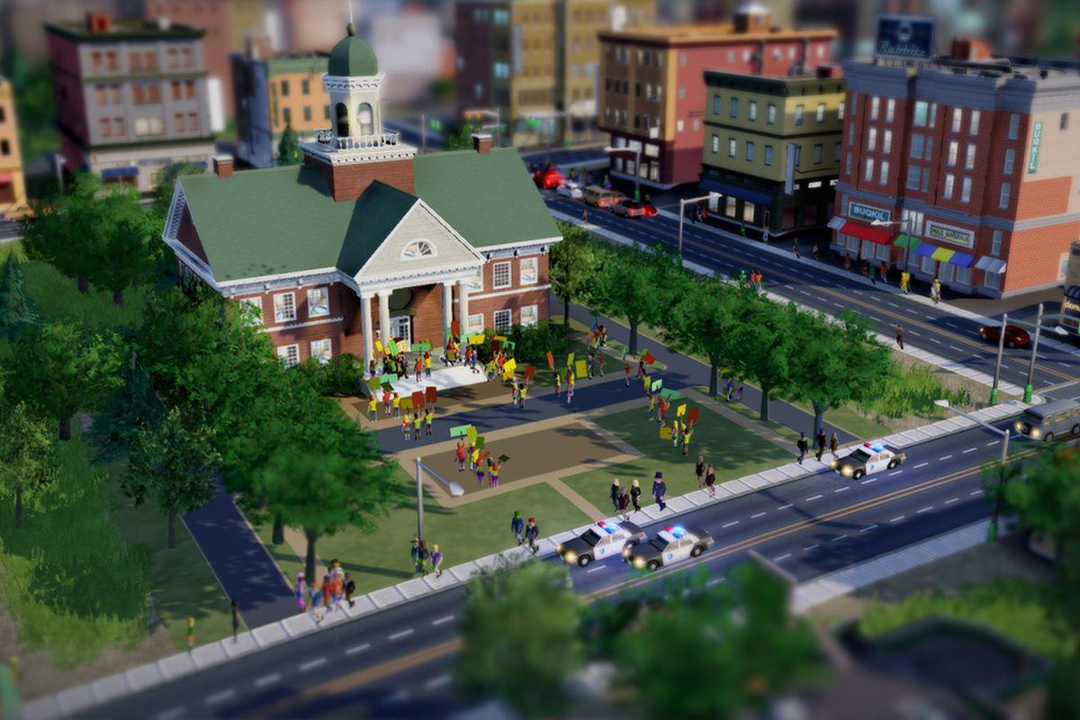 SimCity City Hall Protest