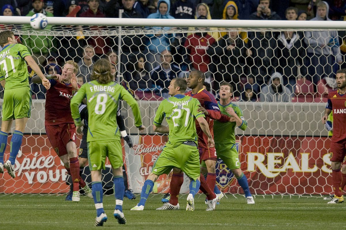 SANDY, UT - MAY 28:  Jeff Park #31 of the Seattle Sounders FC gets a header off a corner kick over Nat Borchers #6 of Real Salt Lake in a MLS soccer game on May 27, 2011 at Rio Tinto Stadium in Sandy, Utah.(Photo by Mike Terry/Getty Images)