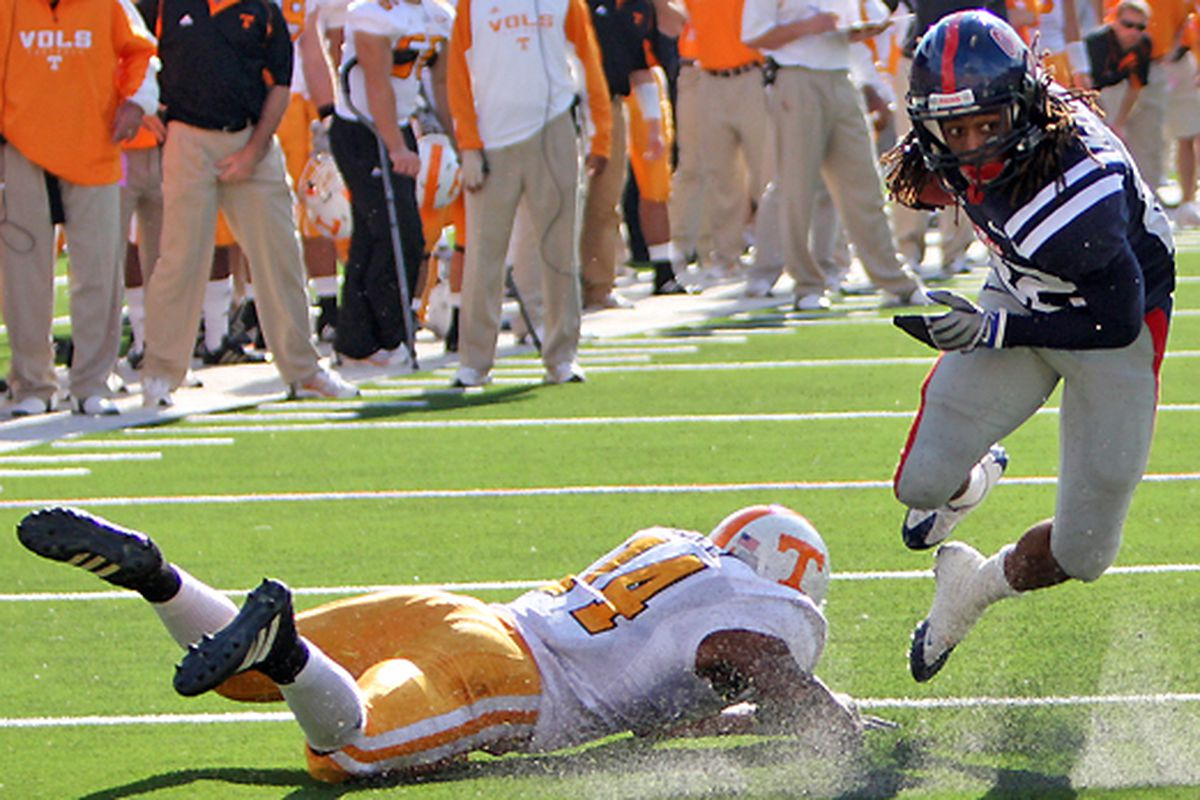 Eric Berry, perhaps the greatest safety to ever play in the Southeastern Conference, is seen here missing a tackle against Dexter McCluster.
